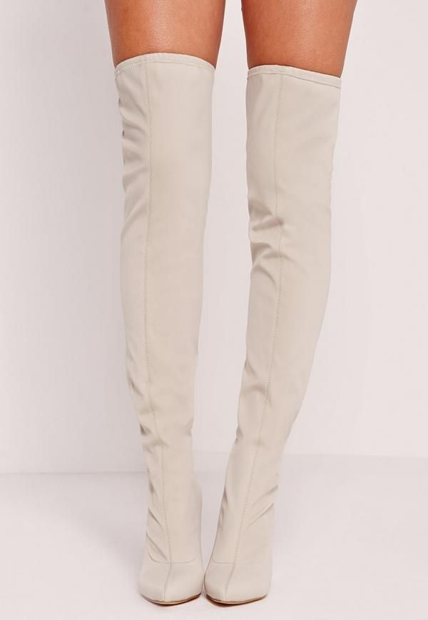 f1a1bd55c66 Pointed Toe Neoprene Over The Knee Boot Cream - Missguided