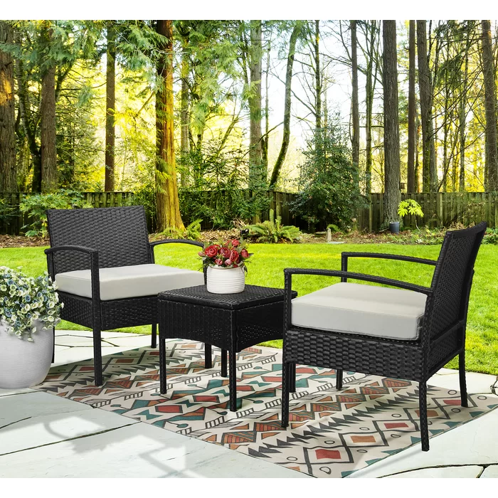 Holmsten 3 Piece Rattan Seating Group With Cushions Bistro Set Patio Dining Set 3 Piece Bistro Set