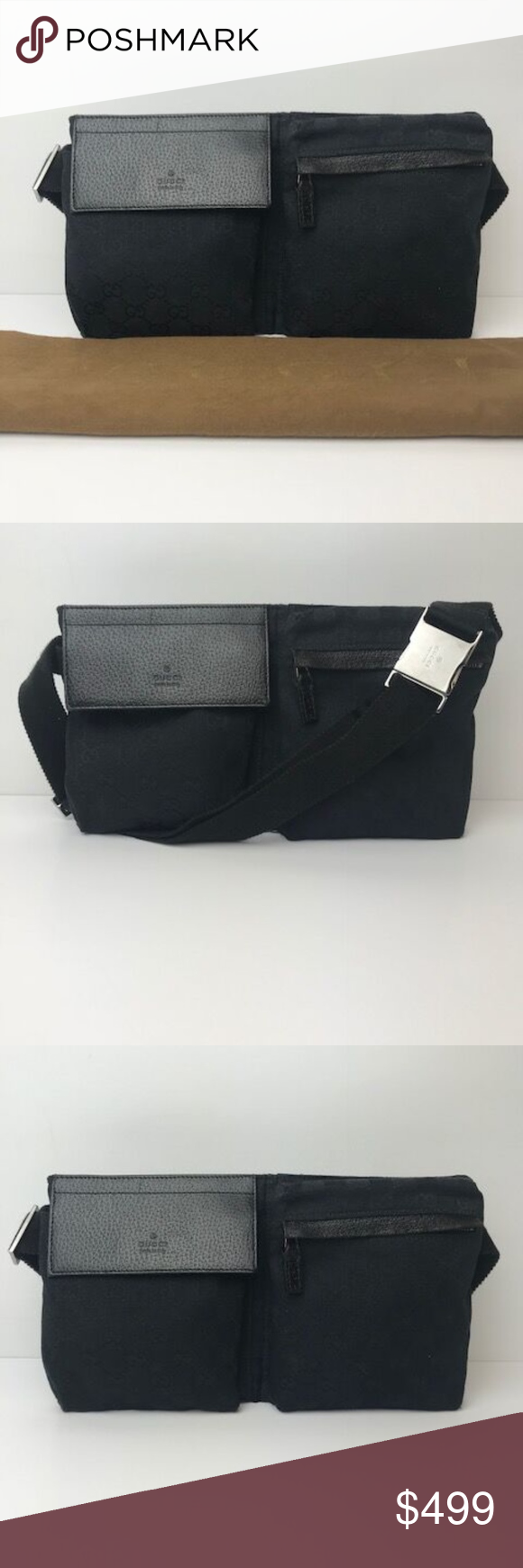 422ccc610f05 Authentic Gucci Black Monogram GG Belt Bag This is an authentic Gucci Belt  Bag in black