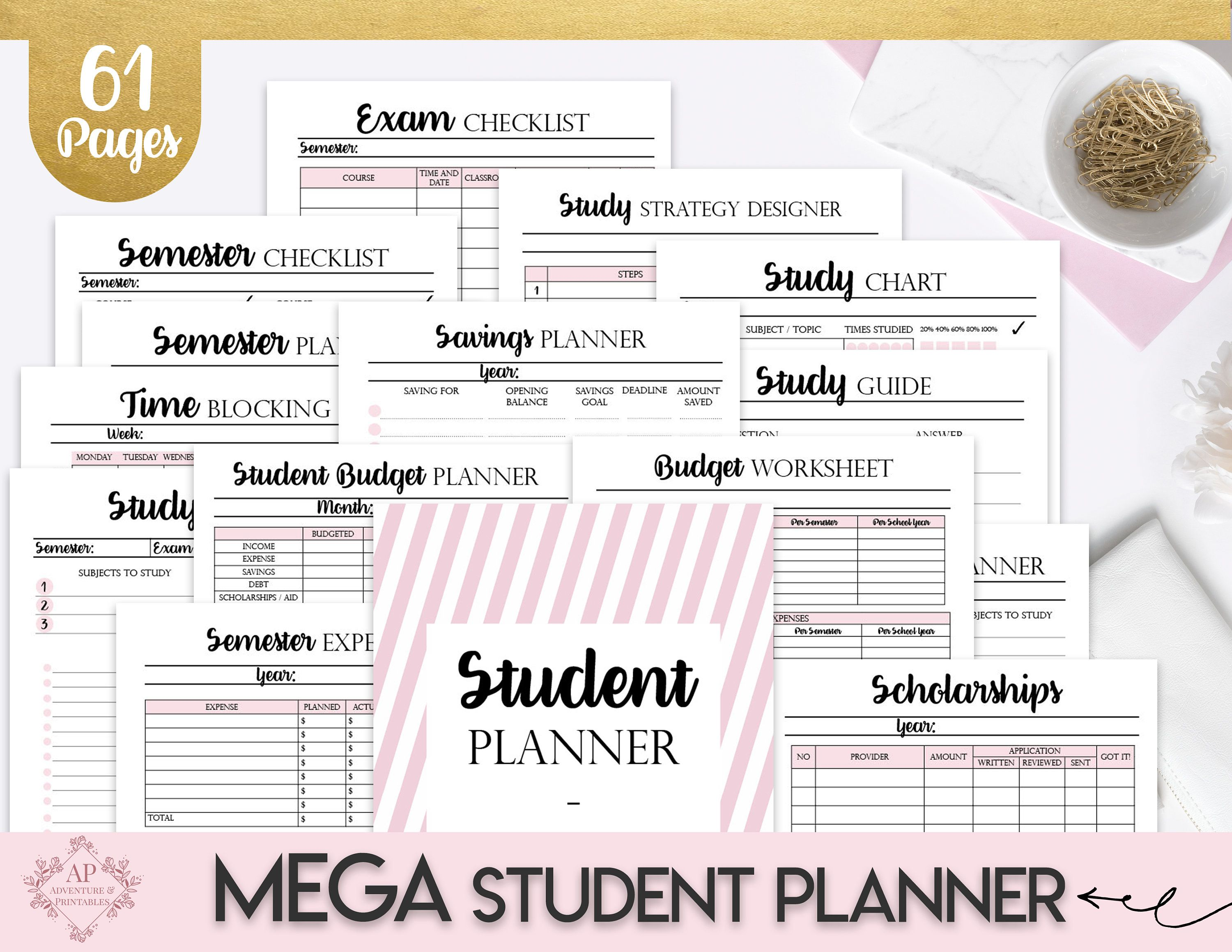 College Student Printable Planner Back To