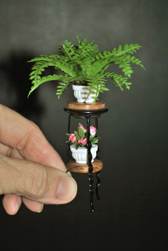 Dollhouse Miniature Wood Plant Stand Fern and Flowers, Handmade Dollhouse…