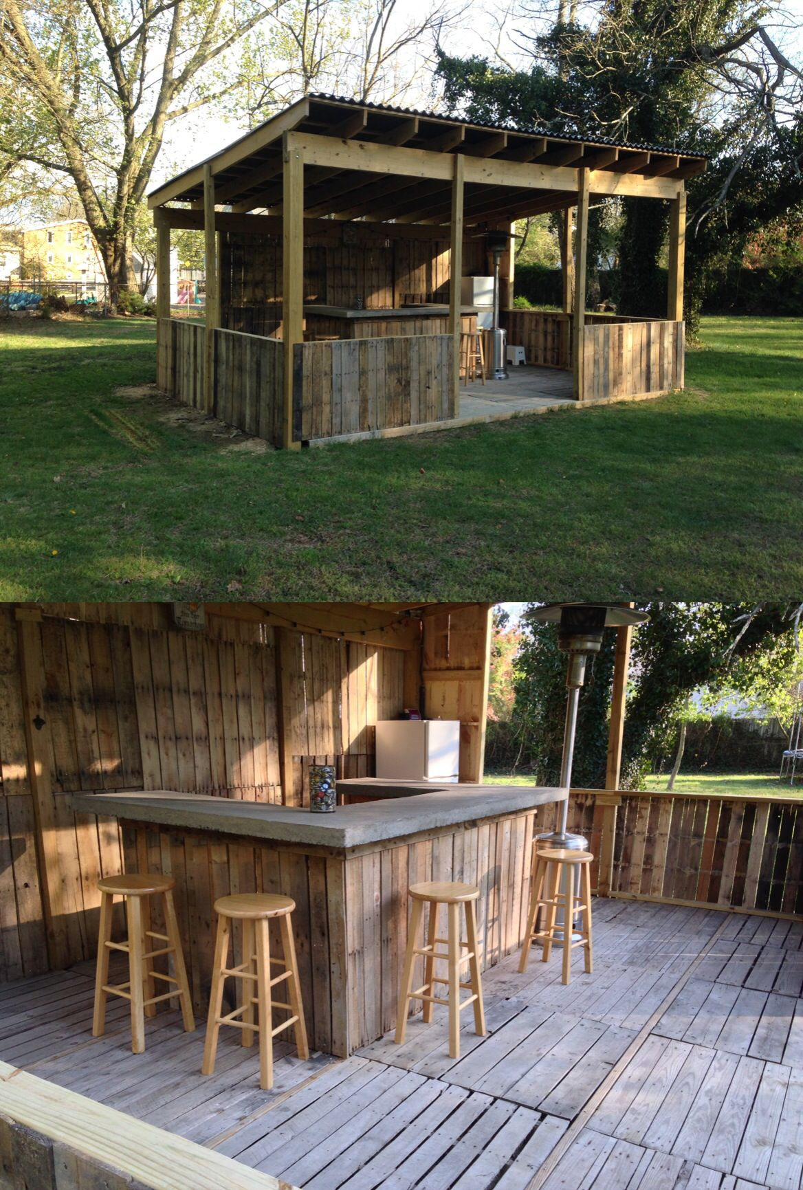 Outdoor Bar Made From Palettes Concrete Top This Is Sweeeeeet Lookn