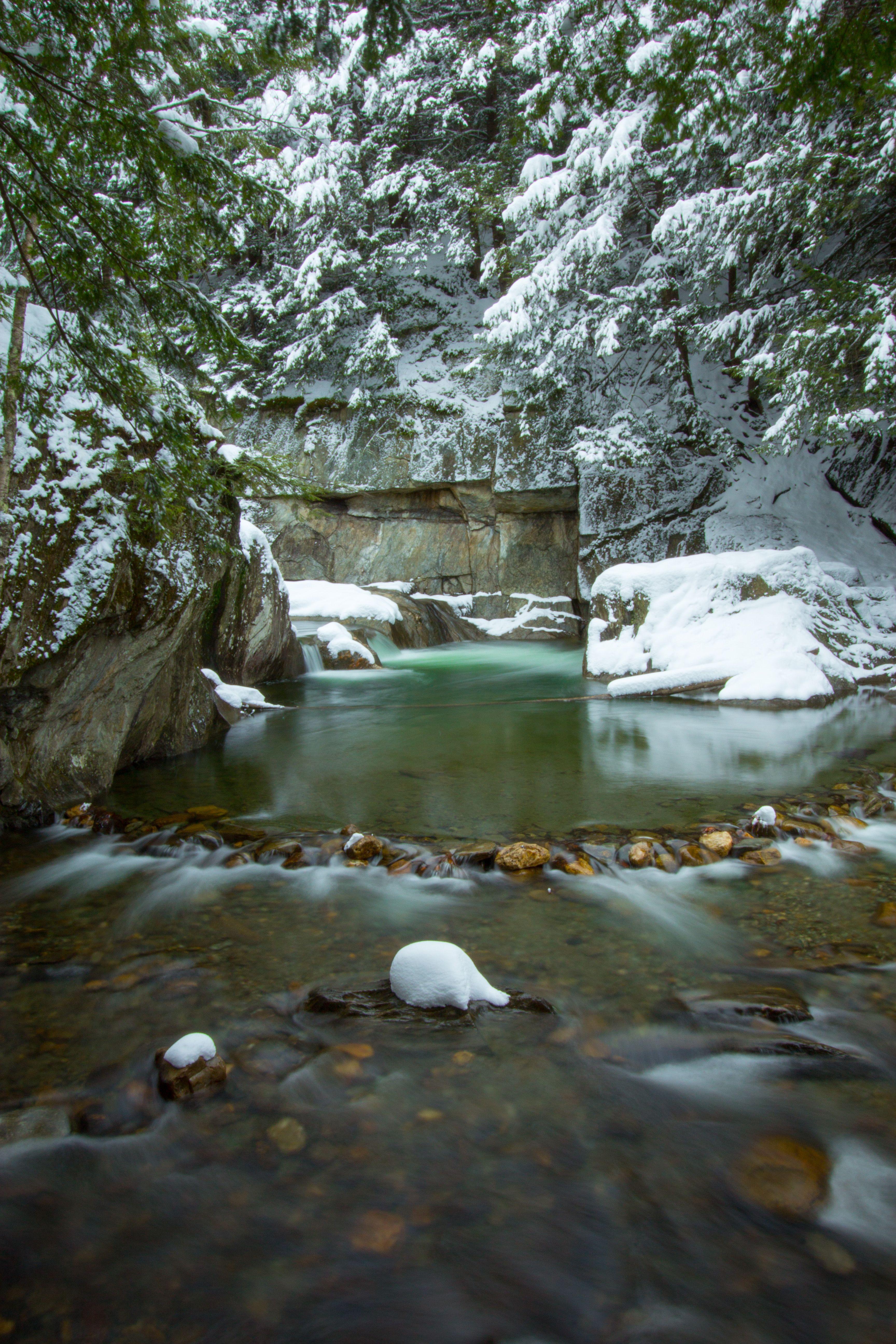 Warren Falls Vermont Winter Snow Water Vermont Outdoor
