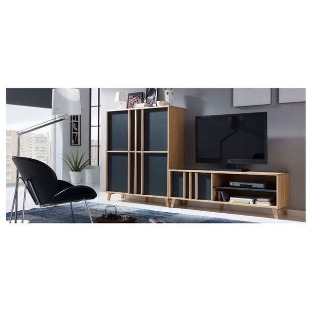 Meuble TV bas moderne MONDRIAN -Coloris Gris-Bleu TVs and Mondrian