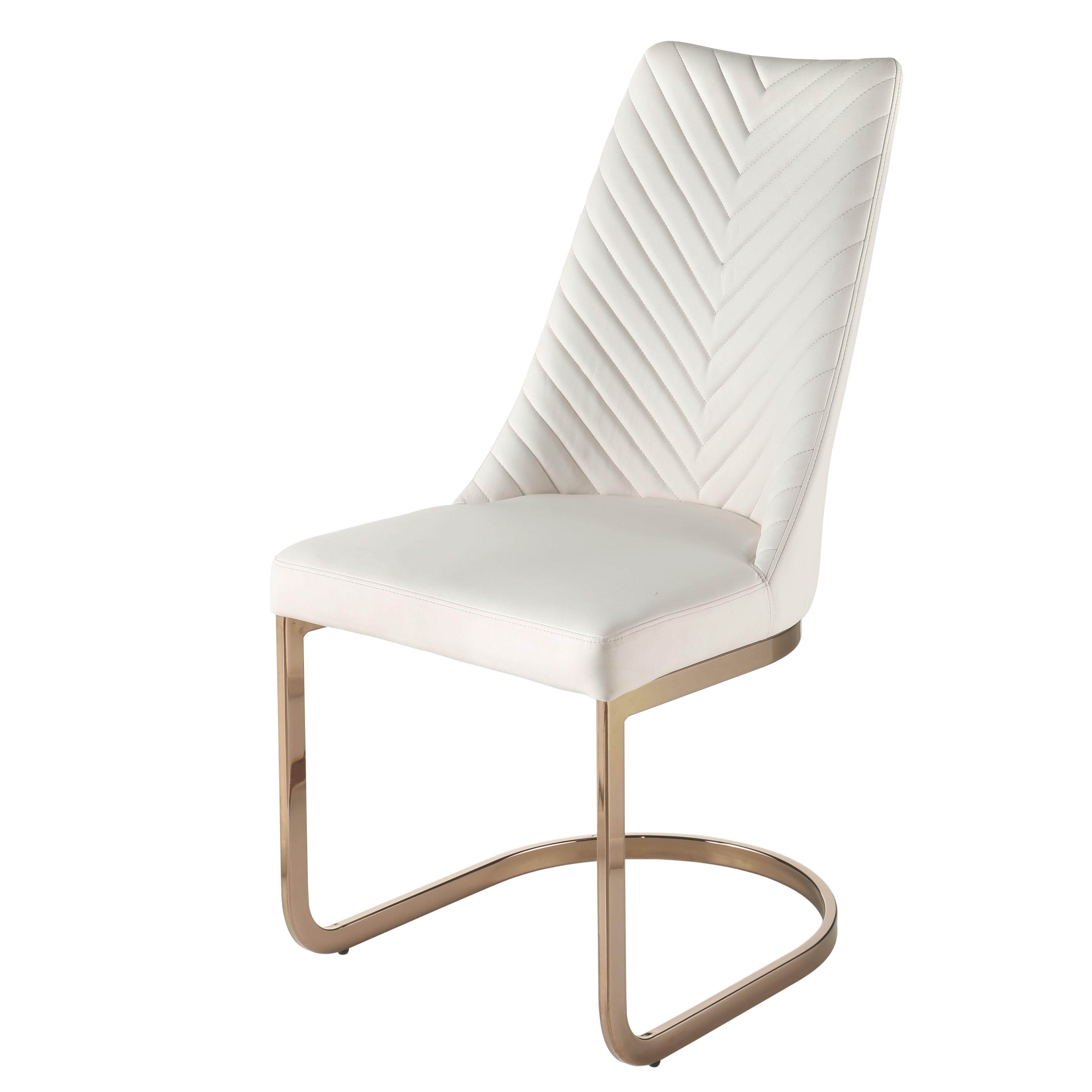 Kyla KD PU Chair Rose Gold Legs in White NPD