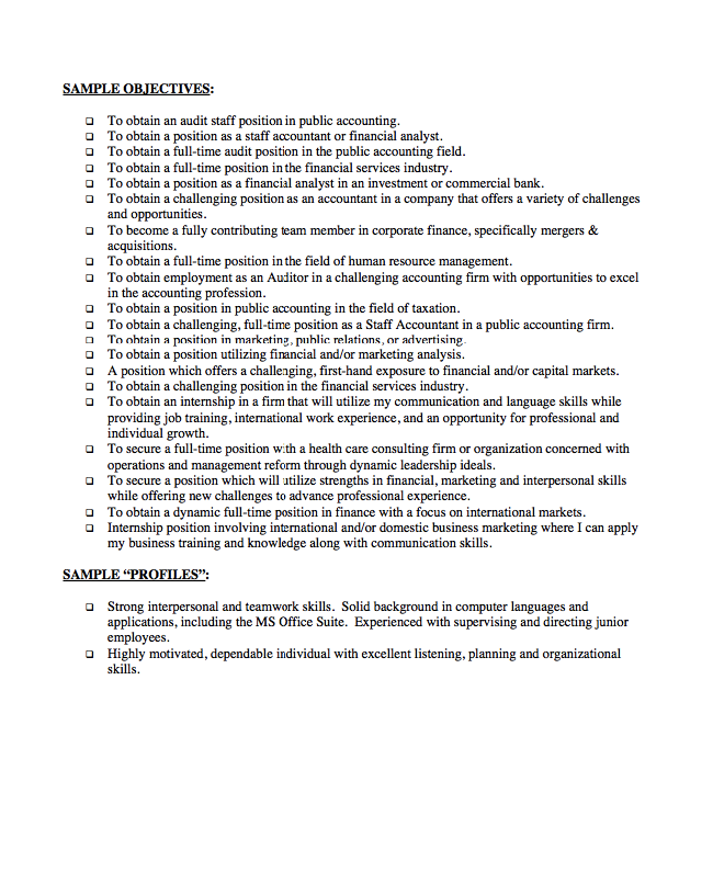 Finance Resume Objective Statements Examples