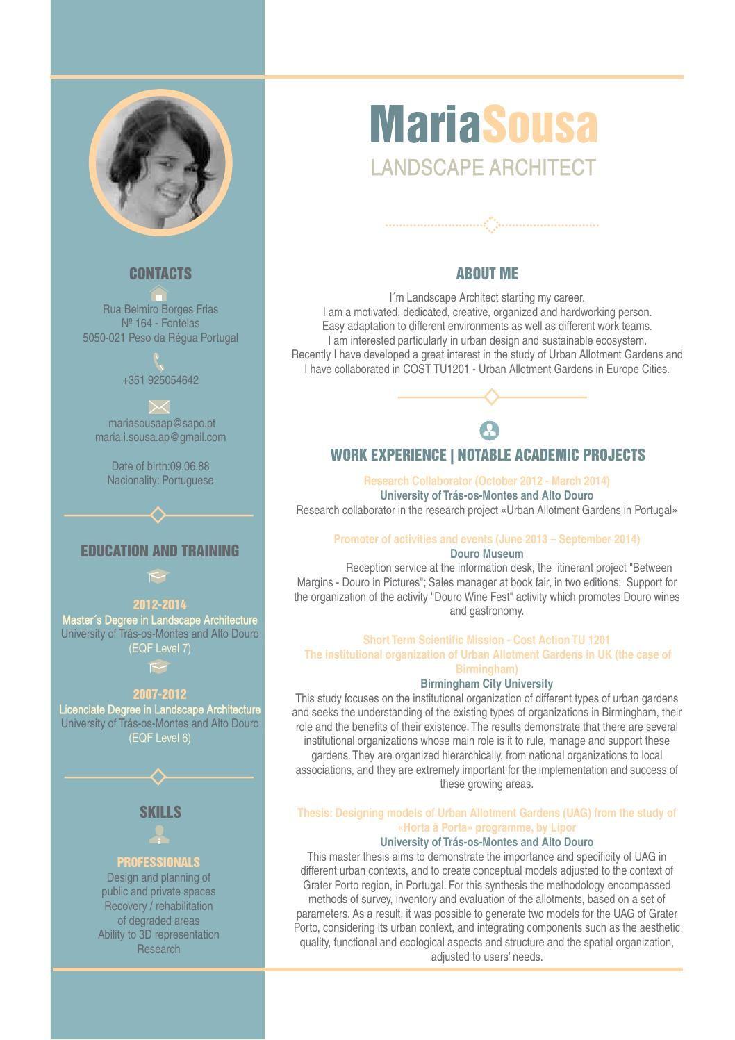 CV Maria Sousa Landscape architect, Landscape, Creative cv