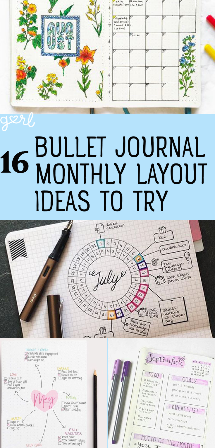 16 Bullet Journal Monthly Layout Ideas To Keep You On Track | Stress ...