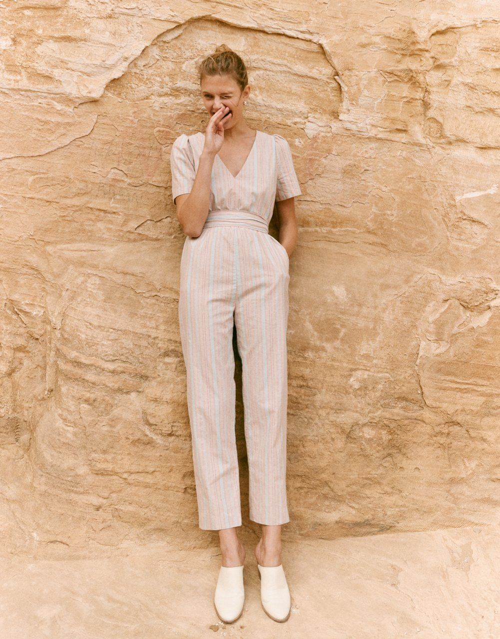 c2043f616d09 madewell striped puff-sleeve tapered jumpsuit