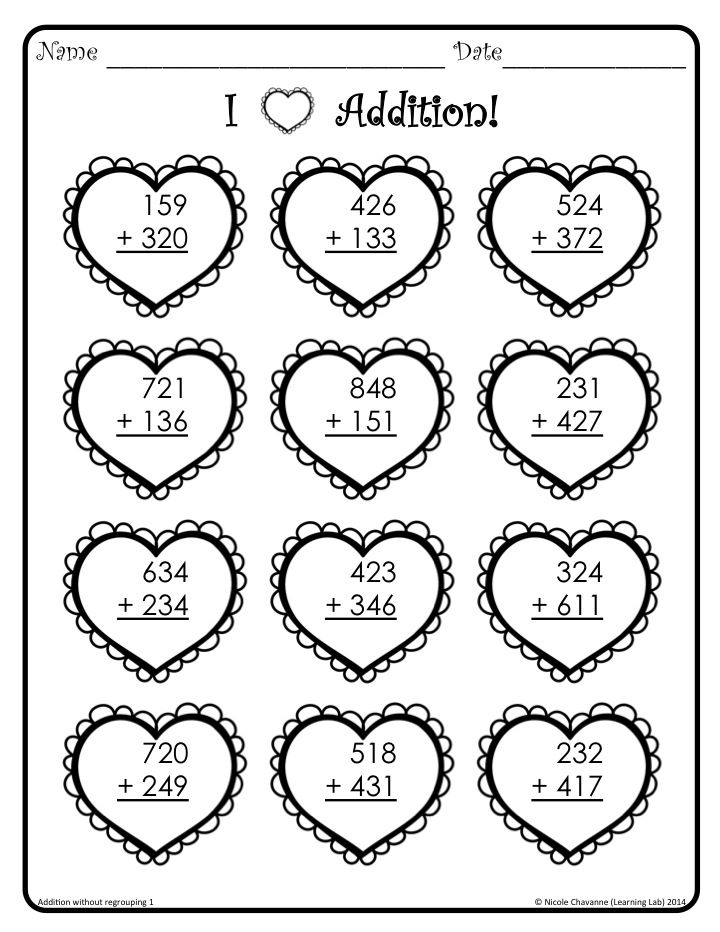 Valentines Day themed worksheets that include 3digit addition – Addition Without Regrouping Worksheet
