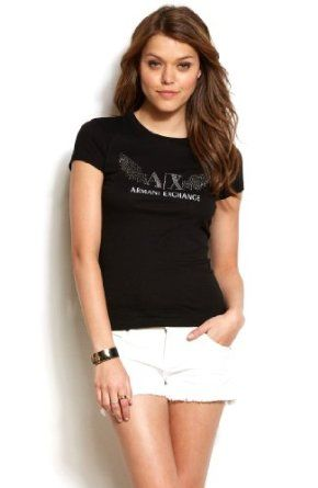 357fca91 Armani Exchange Womens Studded Wing Logo Tee Black $38.00 | My Style ...