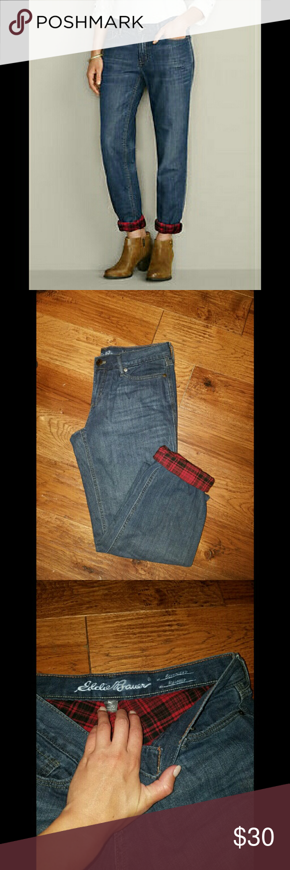 Flannel lined boyfriend fit jeans Worn once & SUPER comfy + warm Eddie Bauer Jeans Boyfriend