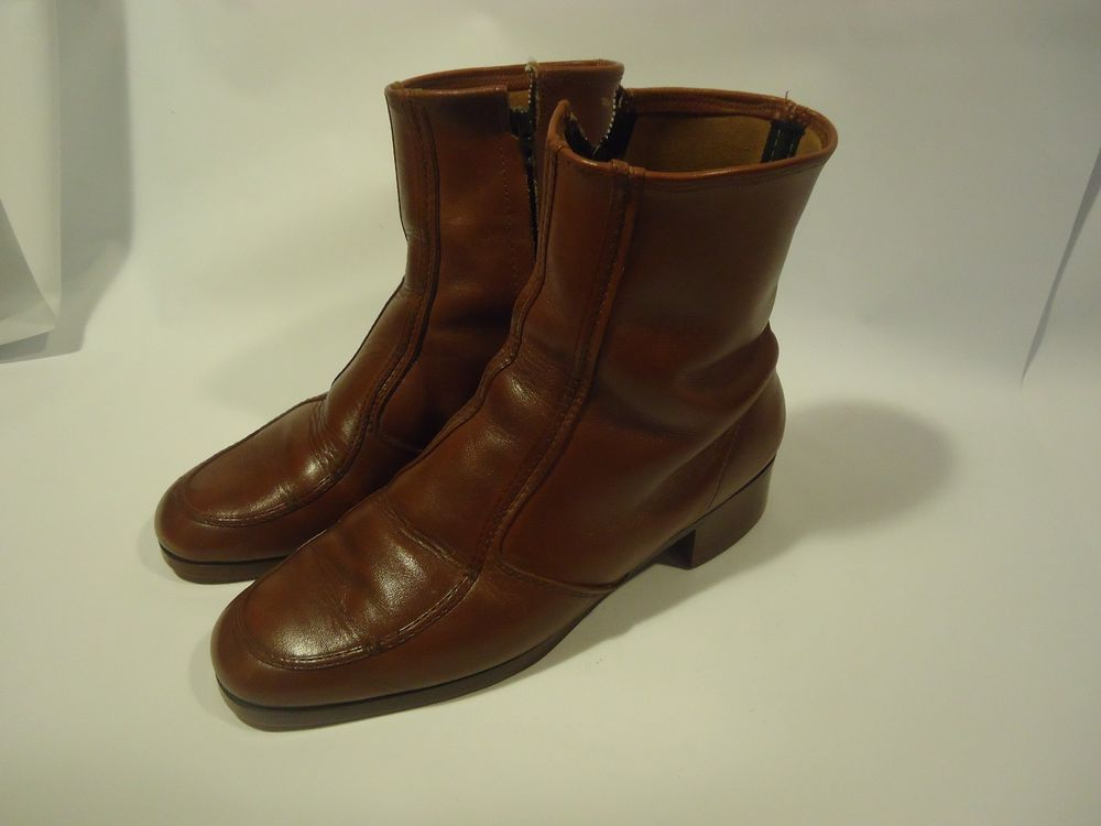 VINTAGE Men's Zippered Ankle Hipster Beatle Boots-Brown Leather Sz 8.5 D #Unbranded #AnkleBoots