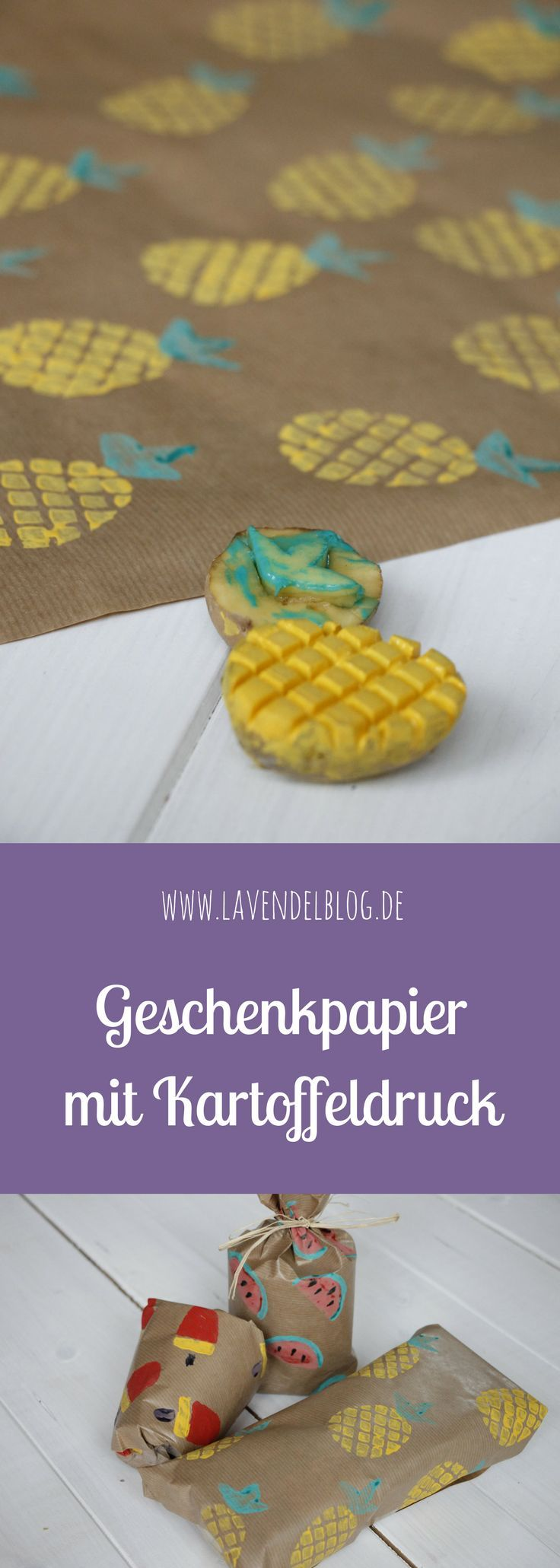 DIY-Idee: Geschenkpapier mit Kartoffeldruck selbermachen - Lavendelblog