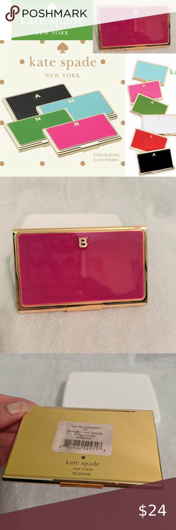 Sold Kate Spade Lenox B Business Card Holder Monogrammed Business Card Holder Business Card Holders Kate Spade