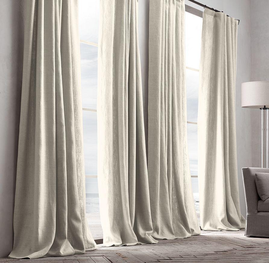 Belgian Textured Linen Drapery White Linen Curtains Linen