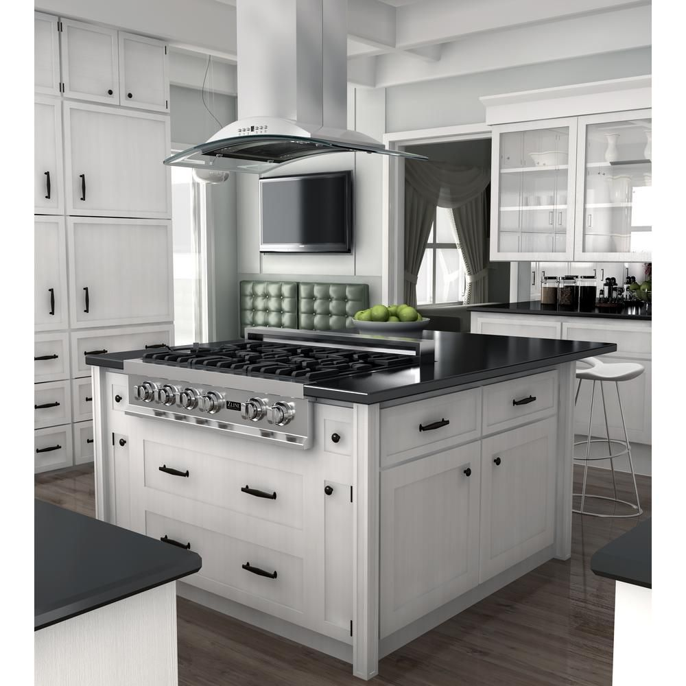 Zline Kitchen And Bath Zline 36 In Island Mount Range Hood In Stainless Steel Glass Gl Kitchen Island With Cooktop Kitchen Design Kitchen Island With Stove