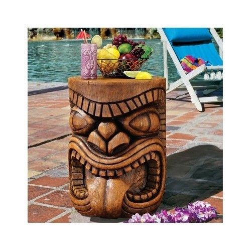 Tiki Bar Table Hawaiian Side End Pool Indoor Outdoor Polynesian Patio  Furniture