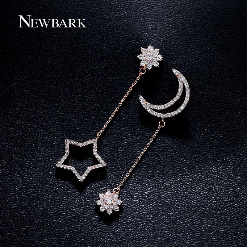 NEWBARK Lindo Estrella Y Luna Colgante de La Flor Pendientes Chapados Oro Plata Color Largo Earing de La Joyería de Regalo de Navidad Para Las Mujeres