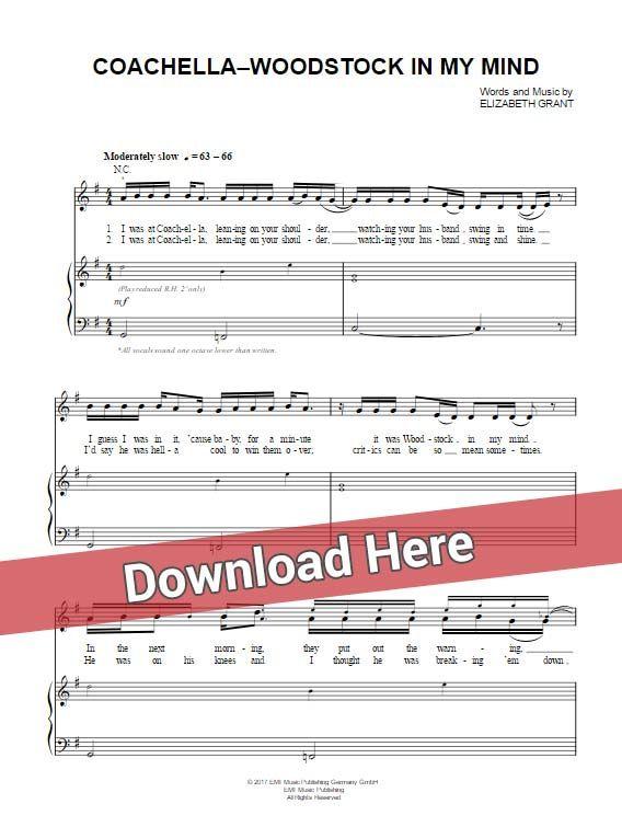 Lana Del Rey Coachella Woodstock In My Mind Sheet Music Piano Notes