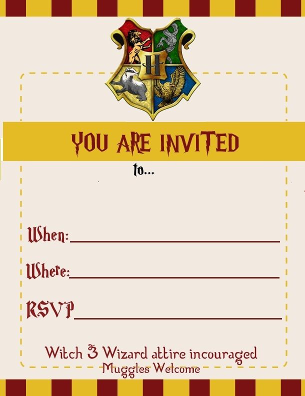 harry potter themed birthday invite for