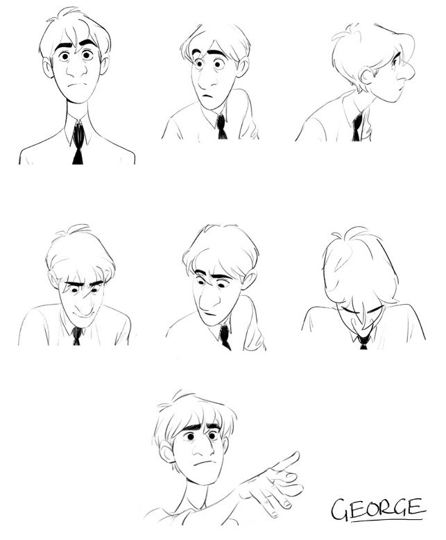George Expressions Sheet By John Kahrs Character Design References キャラクターデザイン Find Character Design References Expression Sheet Disney Concept Art