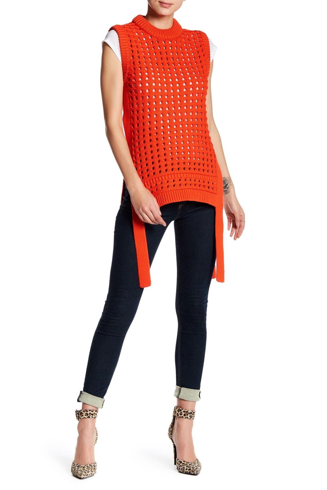 177a438e72cb Beautiful Scarlet Red tibi Pointelle Sleeveless Sweater Crochet Top,  Tankini, Capri Pants, Sweaters