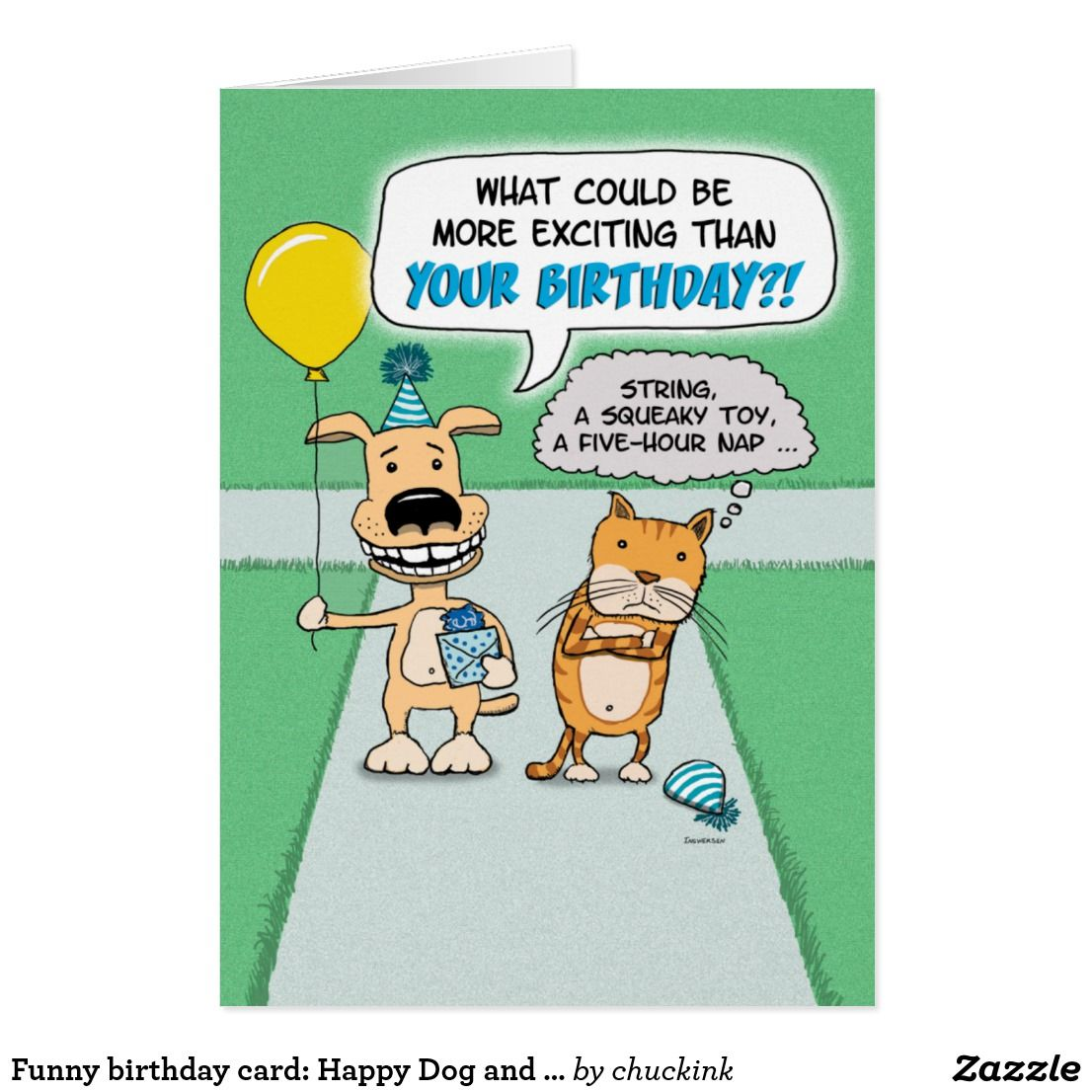 Funny birthday card happy dog and grumpy cat card happy dogs cat shop funny birthday card happy dog and grumpy cat card created by chuckink personalize it with photos text or purchase as is bookmarktalkfo Images
