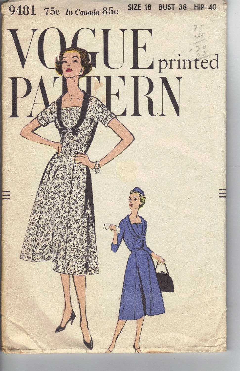 1958 Vogue Sewing Pattern 9481 Women\'s Dress Size 18. | Vintage ...
