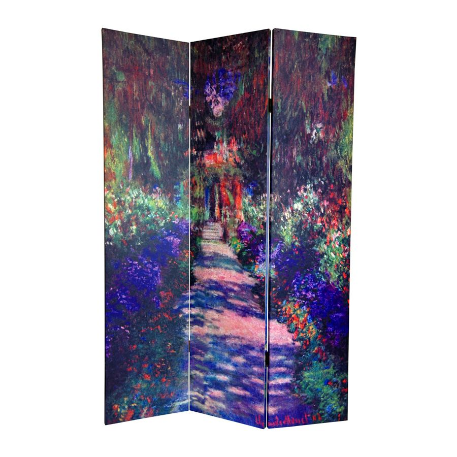 Oriental Furniture Works Of Monet 3Panel Multi Wood and Fabric