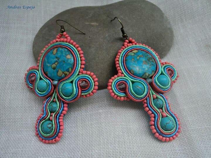 pendientes de soutache en color turquesa de El rinconcito de Zivi por DaWanda.com