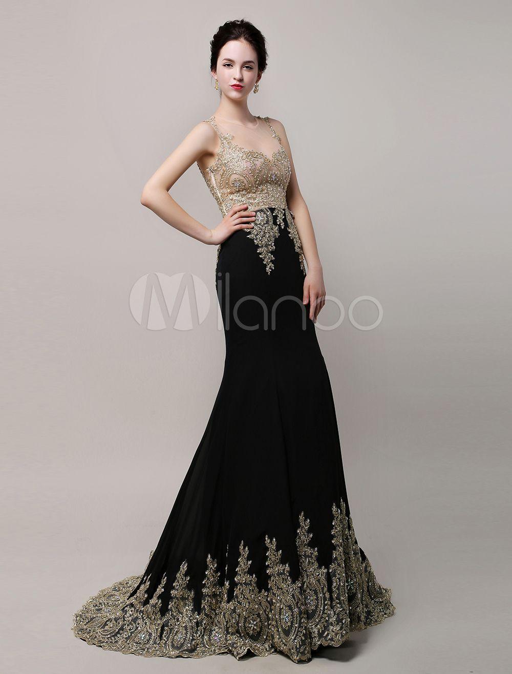 cd9f8d6f4 Impresionante negro boda vestido vestido de noche gasa apliques oro sirena  ilusión corpiño de novia