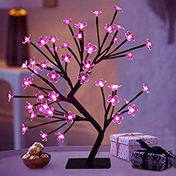Amazon Com Bright Zeal 18 Battery Operated Led Cherry Blossom Tree Lights 6hr Timer Bonsai Lighted Tr In 2020 Cherry Blossom Tree Tree Centerpieces Tree Lighting