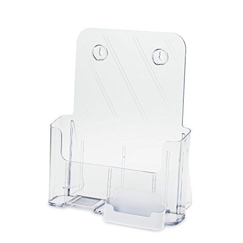 SourceOne Premium Brochure Holder for 8.5 Booklet Clear Acrylic Countertop Organizer with Business Card Container