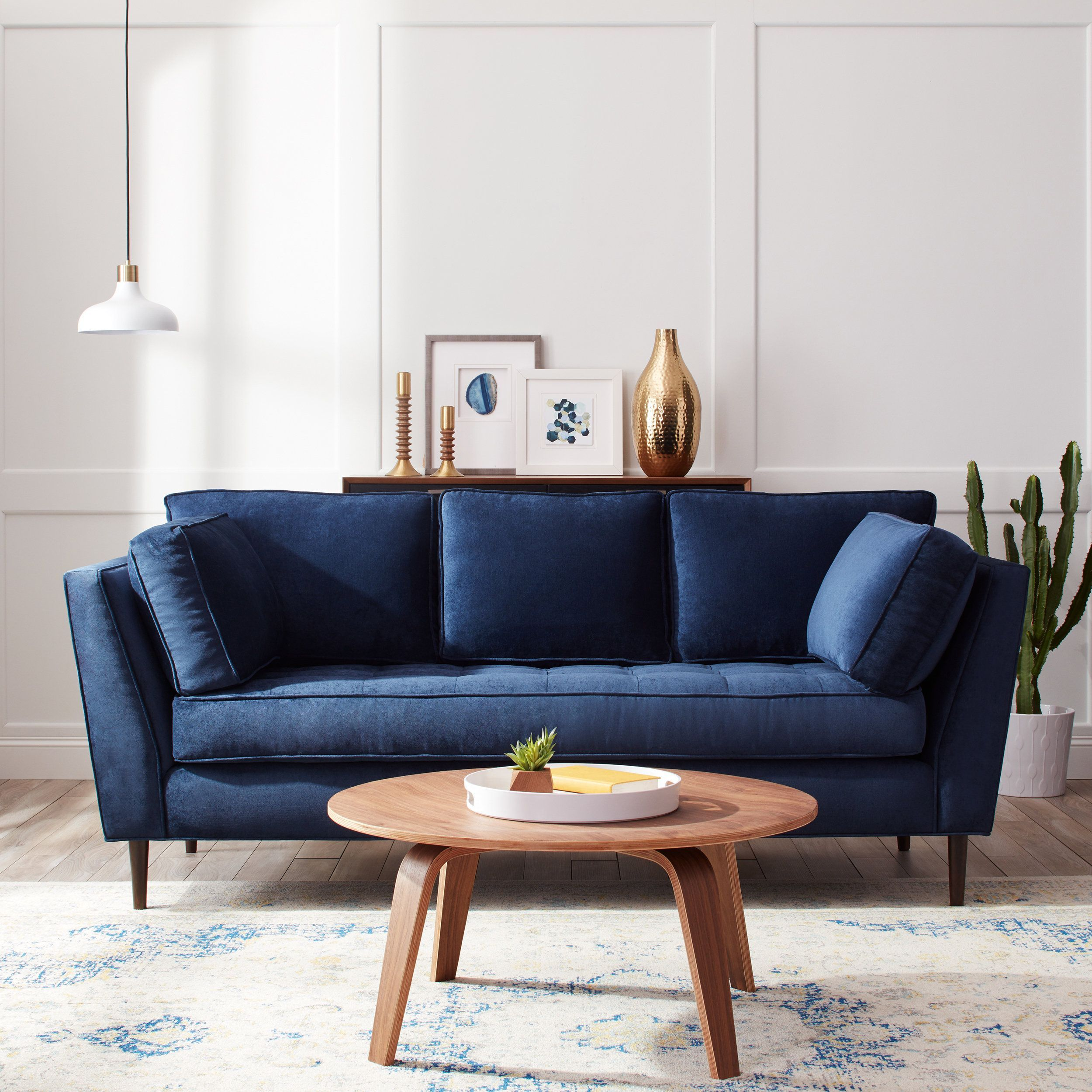 James Mid Century Sonoma Navy Blue Sofa Blue Couch Living Room