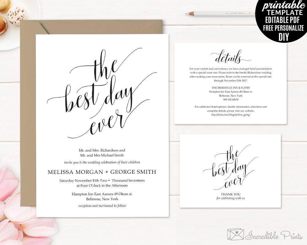 Wedding Invitation Template. Printable Rustic Wedding Invitation ...