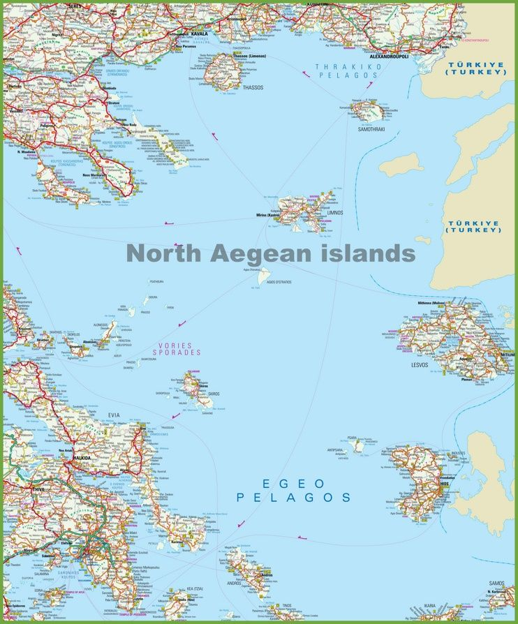 North Aegean Islands Map Aegean Island