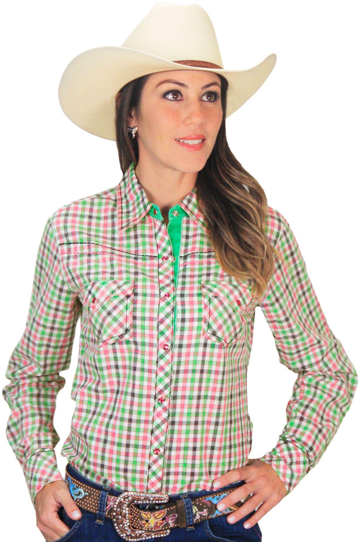 3fc20054b camisa feminina Country Xadrez com Botão de Pressão Cowgirl Up Camisa manga  longa feminina xadrez