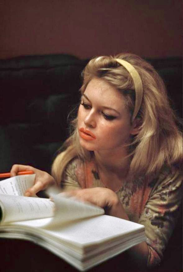 Brigitte bardot diligently studying a script bb brigitte bardot diligently studying a script though she never liked acting she took a dutiful approach to it and was actually much better at it than ccuart Gallery