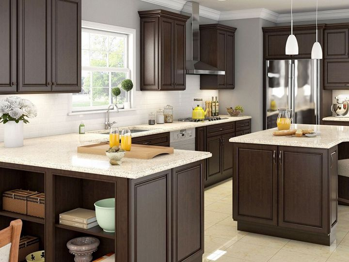 Best Light Counter Dark Cabinets Beige Tile Espresso 640 x 480