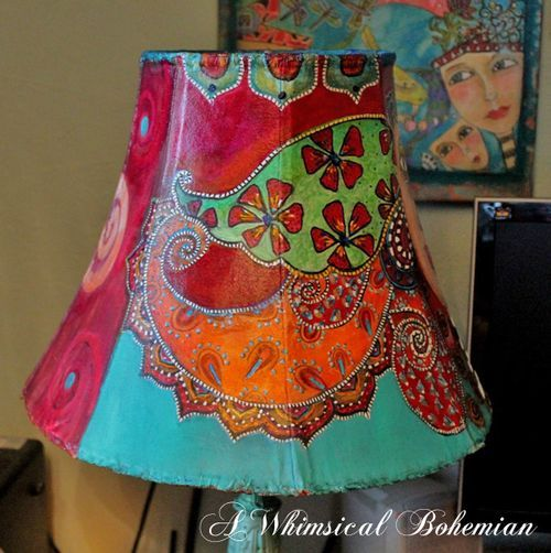 I Ll Leave The Light On For You Painting Lamp Shades Lampshade Makeover Painting Lamps