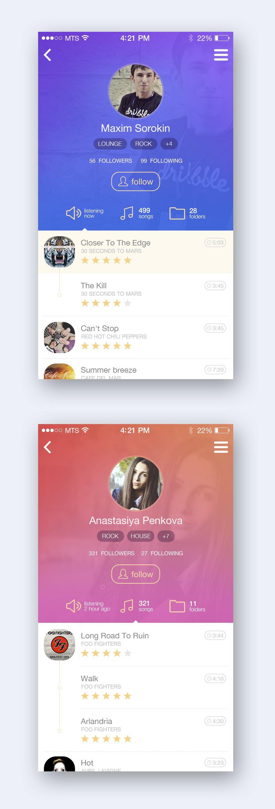 Music App Profile by Maxim Sorokin | soribada | Disenos de unas