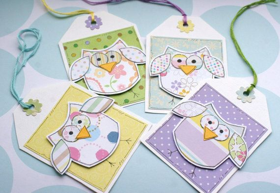 Little Spring Owls  Set of Four Gift Tags by CraftyMushroomCards, £3.00