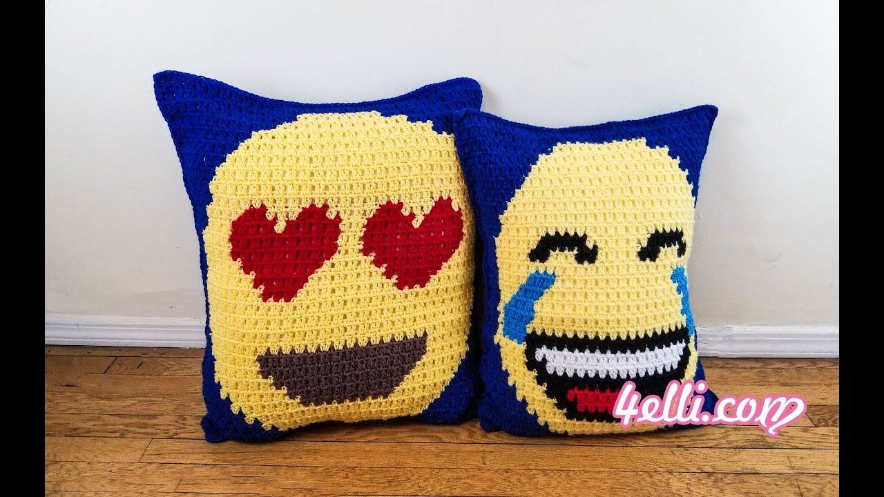 Block stitch graphing emoji pillows en youtube crochet home