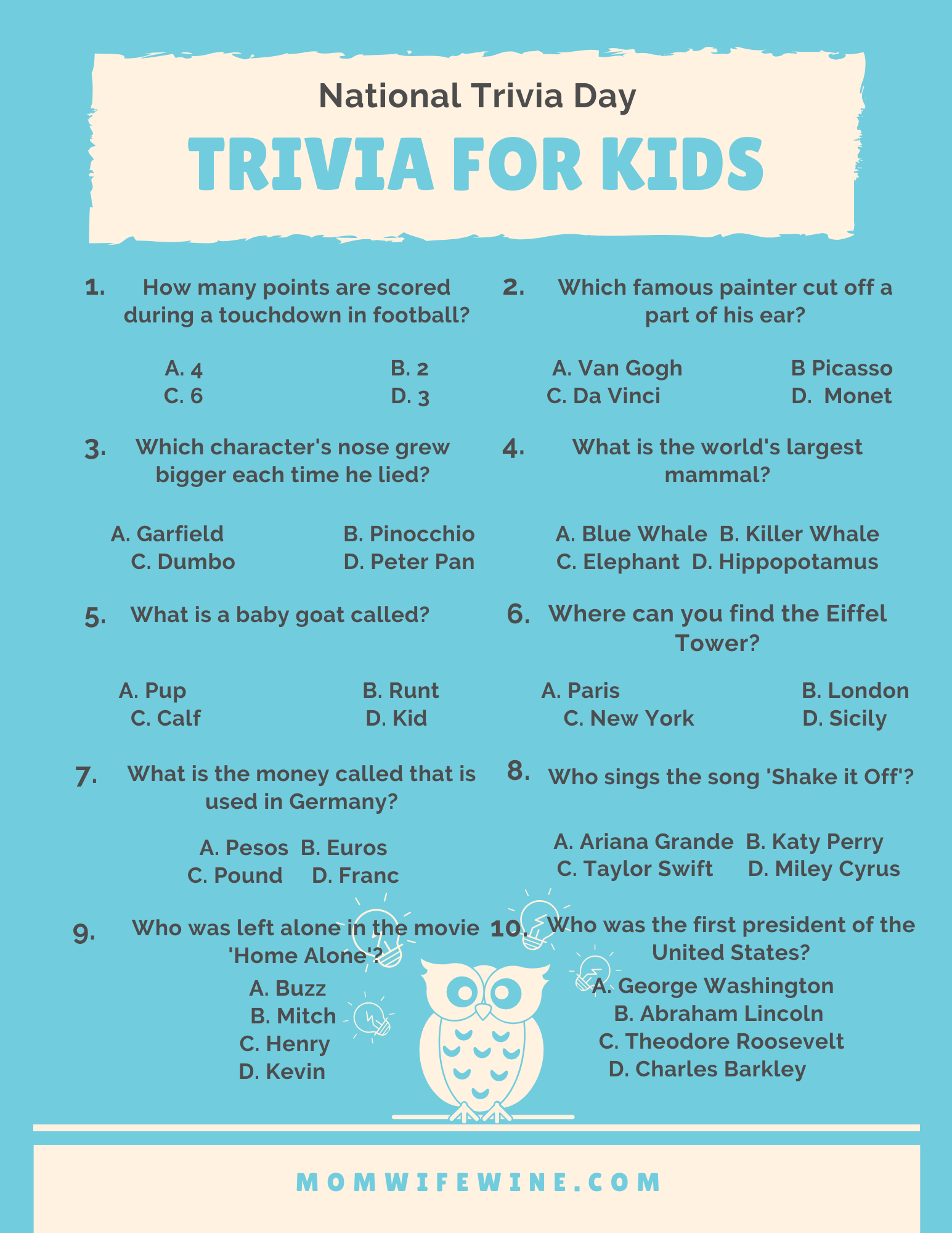 Fun Trivia For Kids And Adults Free Printables Mom Wife Wine Trivia Questions For Kids Trivia Trivia Games
