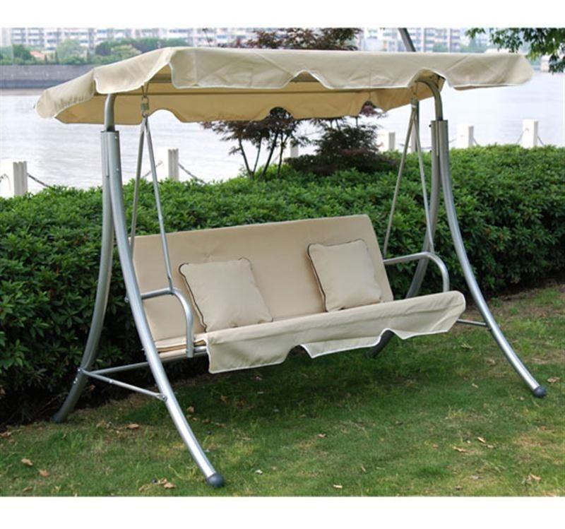 Garden Swing Chair Cream Metal Modern Hanging 3 Seater 400 x 300