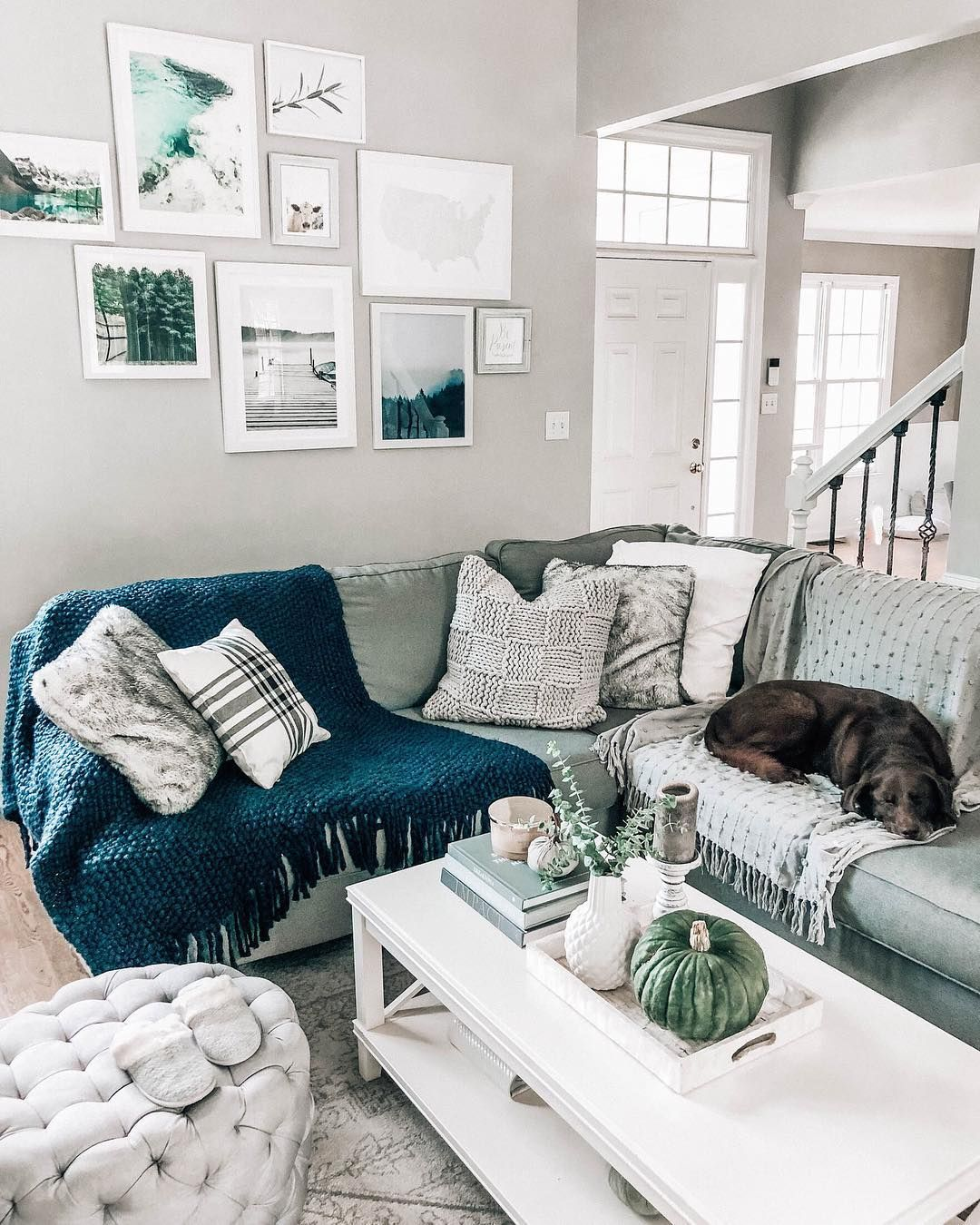 Grey Sectional Sofa Fall Inspired Gallery Wall Blues And Greens Prettyinthepines Living Room Grey Grey Sectional Sofa Grey Sectional