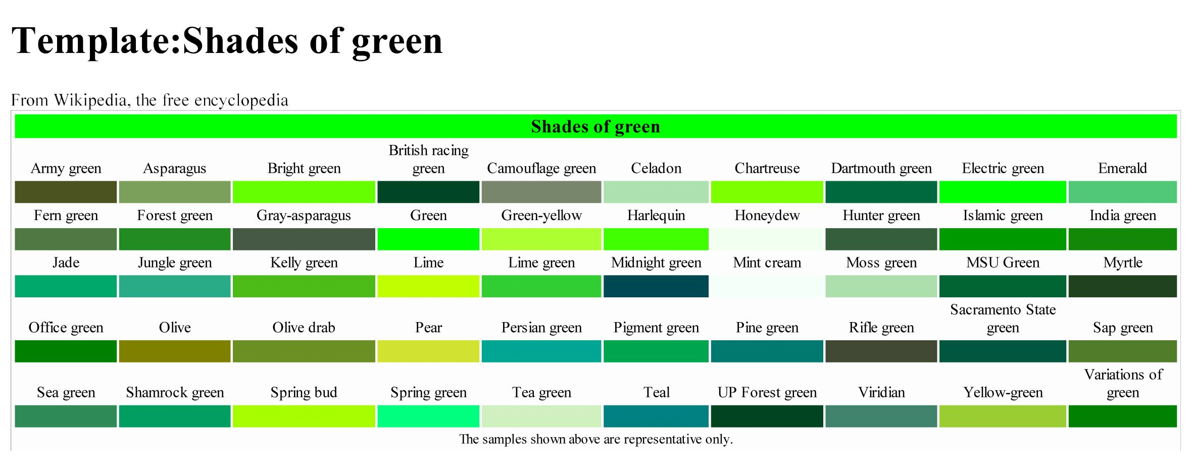 Shades of Green | Writers' Color Pallette | Pinterest | Shades ...