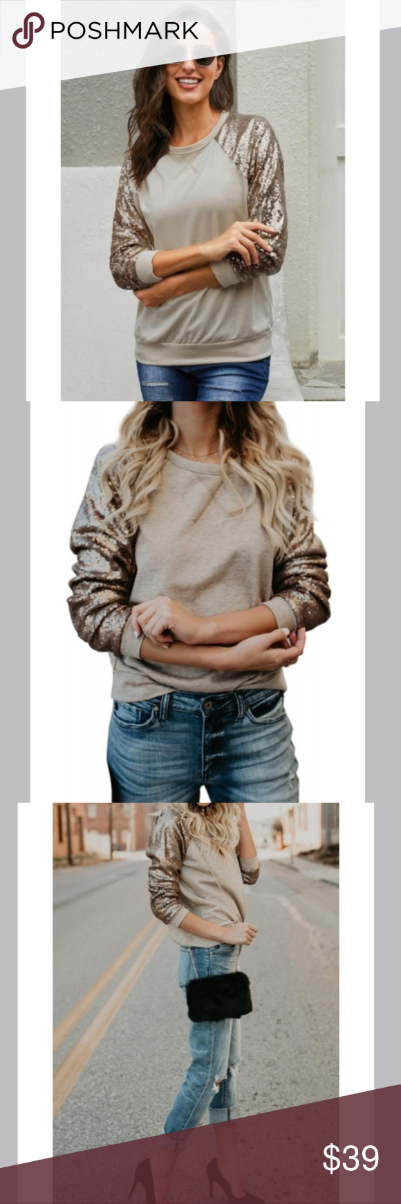 Apricot Gotta Have It Sequin Knit Top Material: 95%Polyester+5%Spandex •Pullover sweatshirt, simple chic •Sequin long sleeve, how shimmering •Sweatshirt is popular every year •All-match with your jeans, pants and skirts Sweaters Crew & Scoop Necks #gottahaveit