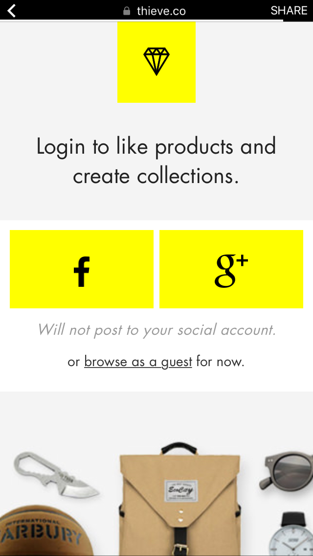 Thieve App Signup Screenshots